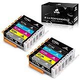 IKONG PGI-570 CLI-571 Compatible PGI-570XL CLI-571XL Cartuchos de Tinta, 12 Paquete, Alto Rendimiento, Trabajar con PIXMA TS8050 TS9050 MG7750 TS8051 TS8052 TS8053 Impresora, Incluir Gris