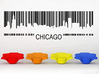 Chicago Skyline Barcode Illinois Decal Vinyl Sticker Wall Artwork Cityscape City Scape Home Art Office Decor Bachelor Pad Decor and Stick Made in USA