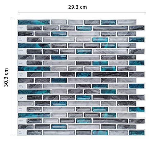 Leileixiao 10 piezas de azulejos de lujo impermeables autoadhesivo 3D mosaico calcomanía de pared pelar y pegar baldosas de vinilo para cocina (color: MSOB 001)