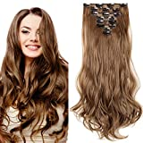 SEGO Extension a Clip Cheveux Rajout Syntetique pas Cher Curly Longue - 43 cm Chatain Clair - [8 Piece 18 Clips] Clip in Hair