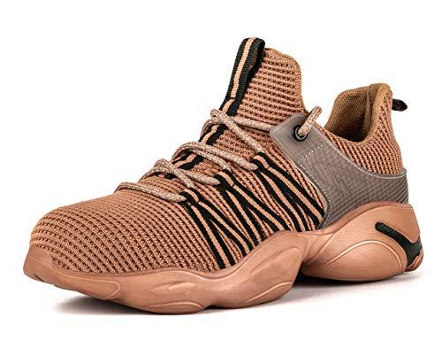 [ブルーポメロ] 安全靴 あんぜん靴 作業靴 メンズ レディース 軽量 通気性 鋼先芯 JIS H級相当 KEVLARミッドソール 耐摩耗 クッション性 オシャレ 801ブラウン 23
