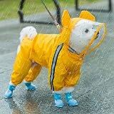Cute Pet Dog Raincoat,Rain Jacket Full Body Coverage with Hat,Transparent Brim, Reflective Night Light Strip,Double Layered Waterproof Rain Jacket, Bear Shape Pet Dog Hooded Cloak (Orange, Medium)