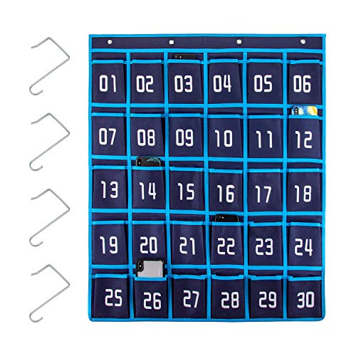 AIEX Numbered Pocket Chart Cell Phone Hanging Organizer Hanging Storage Bag for Classroom Calculator Mobile Phone Holders (30 Pockets, 4 Hooks)