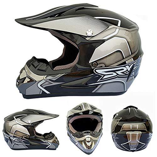 ZZSG Adult Full Face MTB Helmet Set with Goggles Off Road Crash Helmet Protective Gear Full Face Mountain Bike Crash Helmet Adult Full FaceOff Road ATV Enduro Downhill Quad Road Race,XL