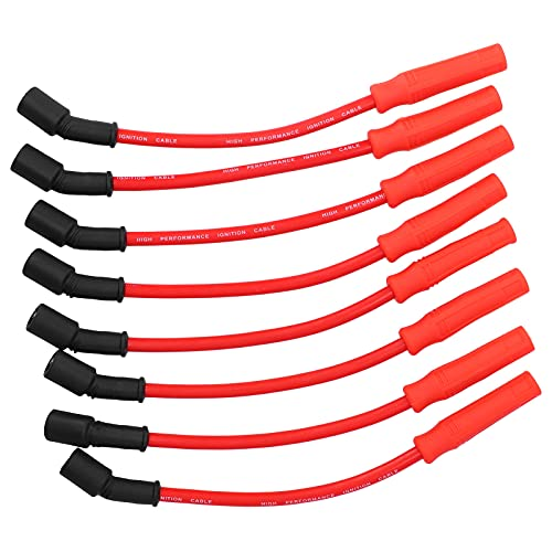 8 cables para bujías, modificación de coche, 0,4 pulgadas, cables conductores de encendido de resistencia ultrabaja, cables compatibles con motores Chevrolet Silverado/Tahoe 4,8 5,3 6,0 Vortec, rojo