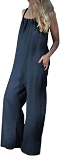 Xinantime Womens Solid Bodysuit Sleeveless Loose Wide Leg Bib Pants Jumpsuit Romper Playsuit Plus Size