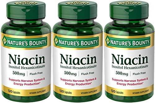 Set of 3 Nature's Bounty Niacin Flush Free 500 mg, 120 Capsules by Maven Gifts