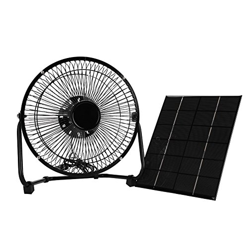 Tbest Solar Panel Powered Fan 5.2W 6V Portable Mini USB Solar Fan Iron Cooling Fan for Camping Home Office Outdoor Traveling Fishing 8' Inch
