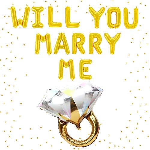 Jollyboom Te casarás Conmigo Decoraciones para el Matrimonio Propuesta de Boda Compromiso de la Fiesta Anillo de Diamantes Globos de Aluminio