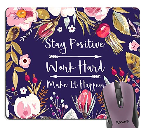 Knseva Stay Positive Work Hard Make It Happen Inspirational Quote Mouse Pad, Motivational Quotes Vintage Floral Wreath Art Flowers Leaves Print Navy Blue Office Decor Mouse Pads