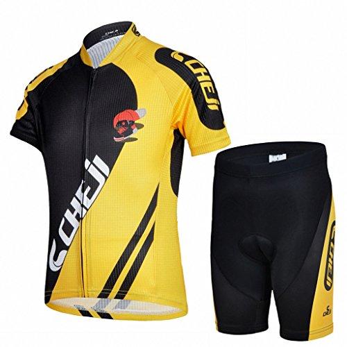 Ateid Maillot de Ciclismo y Pantalones Cortos para Niños Negro-Amarillo L 6-7...