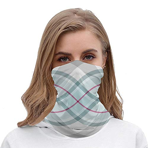 Pastel Mint and Grey Diagonal Plaid Unisex Multifunctional Bandana Neck Gaiter Tube Headwear headkerchief, Motorcycle Face Mask Bandana Headband for Women Men Face Scarf