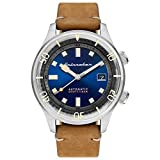 SPINNAKER Men's Bradner 42mm Brown Leather Band Steel Case Automatic Blue Dial Analog Watch SP-5062-05