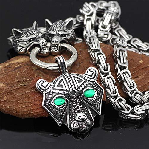 QZY Hecho a Mano Heavy Acero Inoxidable Lobo Cabeza Collar con Nordic Thor Martillo Colgante,Nórdico Vikingo Rey Cadena Amuleto 7mm W - 7 Estilo,CE,70CM/28INCHES