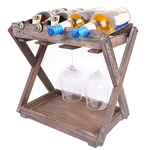 Estante rústico de madera maciza para vino y vidrio, 2 estantes para vino con bandeja, 4 botellas y 8 copas de vino, organizador para el hogar y la cocina