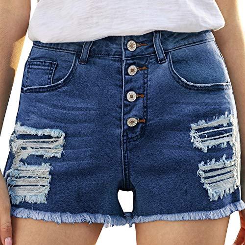 Pantalones Cortos de diseño de Pecho a la Moda de Verano para Mujer, Pantalones Cortos de Mezclilla Lavados Desgastados con Agujeros elásticos cómodos X-Large