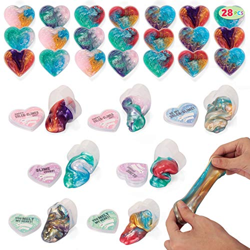 28 Valentines Day Galaxy Slime Hearts for Kids Valentine Classroom Exchange, Valentine Party Favors, Gift Exchange, Game Prizes