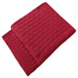 TREELY 100% Cotton Knitted Throw Blanket Couch Cover Blanket(60 x 80 Inches, Red)
