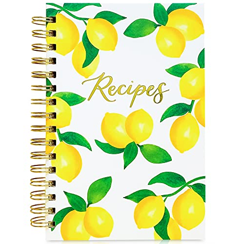 """Teal Petal Blank Recipe Book To Write In Your Own Recipes - Recipe Notebook, Hardcover Recipe Journal Keepsake Cookbook for Organizing Favorite Family Recipes With Tabs, 5.75x8.75"""" Lemons"""
