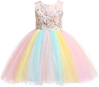 2-14T Girls Flower Dress Lace Rainbow Tulle 3D Embroidery Beading Princess Pageant Christmas Party Dresses