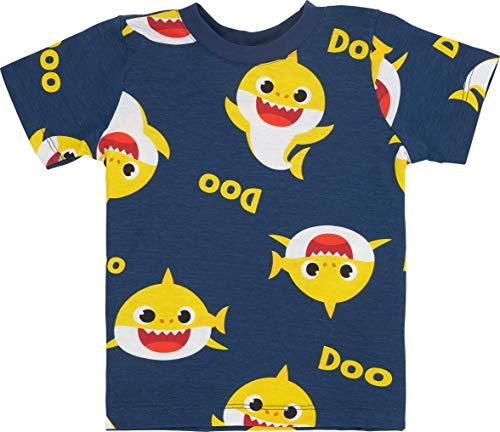 Baby Shark Toddler Boys-Unisex Short Sleeve T-Shirt (3T, Navy)
