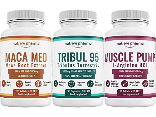 Tribul95® 6000mg & Maca Med® 3000mg & Muscle Pump 1500mg Ultimate Testosterone Booster Combo