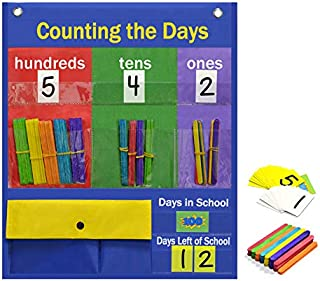 Godery Counting the Days Pocket Chart & Counting and Place Value Pocket Chart for Classroom or Days in School Counting Activity