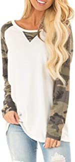 Women's Raglan Long Sleeve O-Neck Patchwork Printed Casual Loose T-Shirts Blouse Tunic Tops