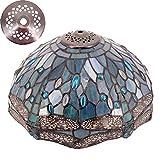 Tiffany - Pantalla de repuesto para lámpara de mesa, techo y lámpara de techo, diseño de libélula, color azul marino