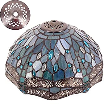 Tiffany Lamp Shade Replacement W12 Inch H6 Inch for Table Lamps Ceiling Fixture Pendant Light Stained Glass Sea Blue Dragonfly Style S147 WERFACTORY Lover Living Room Bedroom Coffee Bar Study Bedside