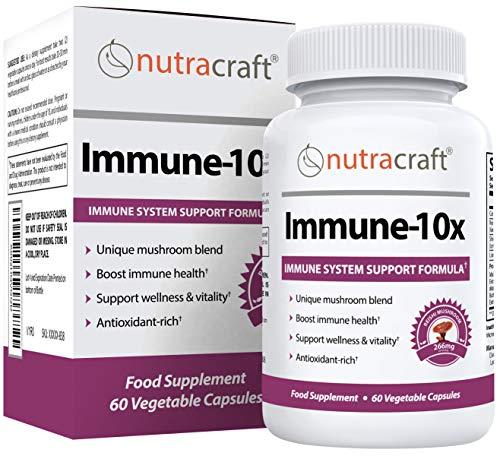 Immune-10x Mushroom Complex   Immune System & Antioxidant Support Mushroom Supplement   Cordyceps, Reishi, Shiitake, Maitake & Chaga   60 Vegetable Capsules