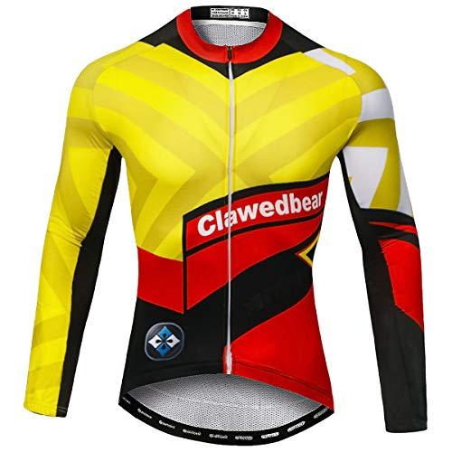 Panegy Maillot Cyclisme Homme Velo VTT Vélo de Route Manches Longues Séchage Rapide Léger Respiant Confort Jaune+Rouge-3XL