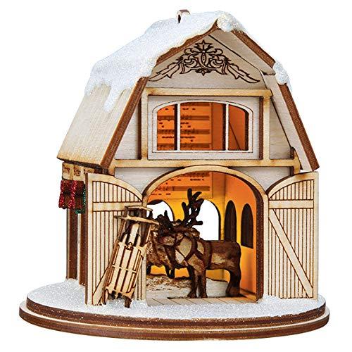 Old World Christmas Santa'S Reindeer Barn Glass Blown Ornaments for Christmas Tree