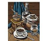 QAZZSF Bricolaje Pintura por Nmeros Kits Imagen De Arte De Pared Caf con Vida para Nios Estudiantes Adultos Pintura Al leo sobre Lienzo 40X50CM