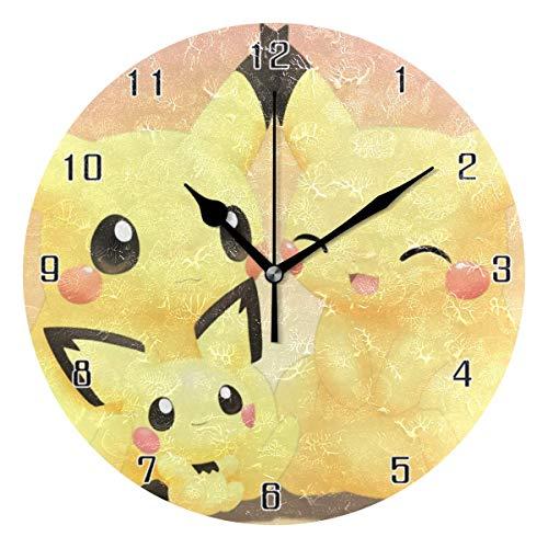 ingshihuainingxiancijies Pikachu Animation Niedlichen Cartoon Familie Welt Runde Wanduhr Wohnkultur Uhr Batteriebetriebene Stille Nicht-Ticken Tischuhr für Zuhause, Büro, Schule (10 Zoll)