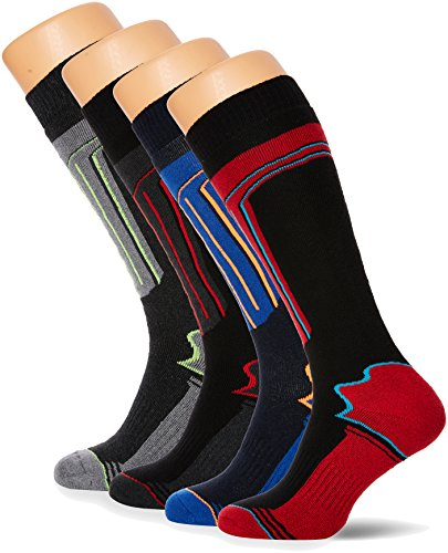FM London Thermal Ski Socks Multipack Calcetines altos, Multicolor (Assorted), Talla única (Pack de 4) para Hombre