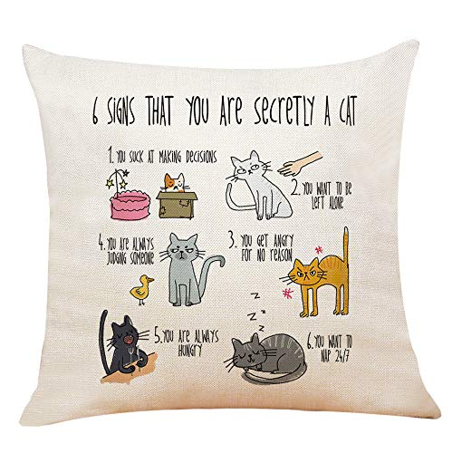 XUWELL Funny Quote 6 Signs That You are Secretly A Cat Cotton Linen Throw Pillow Cover, Gifts for Cat Lovers, 18 x 18 Inch Cushion Case for Sofa Bed Home Decor