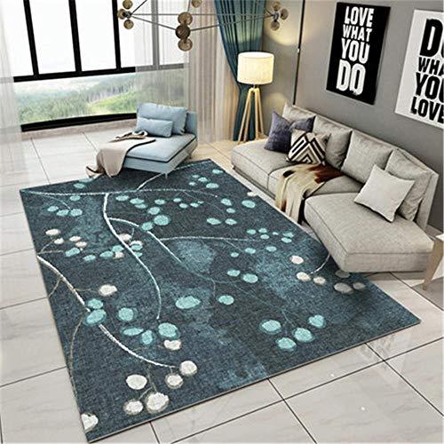 WQ-BBB Alfonbras Super Lujoso Simplicidad Moderna Alfombra alfombras Dormitorio Almacenamiento fácil Tatami La Alfombra Rama de impresión Gris Azul Beige jarapas 120X160cm