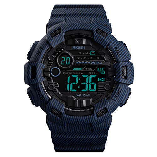IJAHWRS Men's Digital Sports Watch LED Screen Military Style Watch, Outdoor Waterproof with Backlight Watches for Men (Denim Blue)
