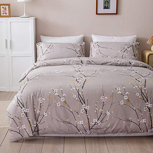 Dencalleus Floral Bedding Duvet Cover Sets, Brushed Microfibre Soft Quilt Covers Set, King Size, Ethnic Nordic Hotel Quality Easy Care, Grey Khaki