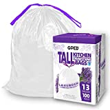 "GPED Tall Drawstring Trash Bags with Lavender Scent, 13 Gallon, Heavy Duty Plastic Bags for Kitchen Garbage and Commercial Use, 27"" x 24"", 0.8 Mil, 100 Count, Pack of 1"