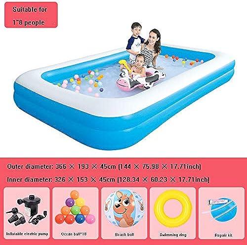 QIAOY Familienschwimmbad Für Kinder Mit Elektrischer Luftpumpe Patch Reparieren Schwimmen Sie Strand Spielzeug Rechteckiges Planschbecken Planschbecken,Blau-366  193  45cm