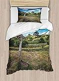 shirlyhome Parure de lit en Microfibre de Polyester Motif hamac sous Feuilles de Palmier Doré, Polyester, Coloris 07, California King