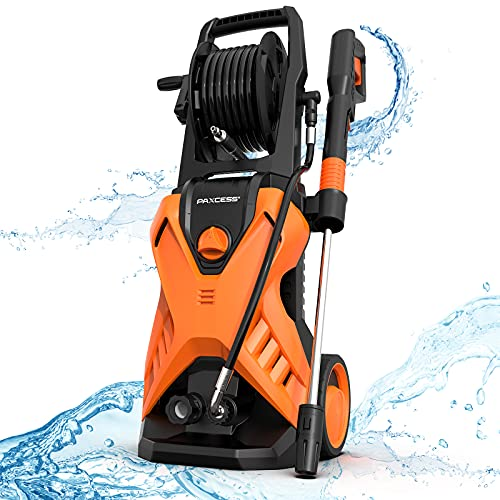 Paxcess 3000PSI Max Pressure Washer, Electric Power Washer with 26ft Sturdy Hose, Adjustable Nozzle, Build-in Detergent Tank, Metal Connector for Car/Driveway/Patio Furniture Cleaning