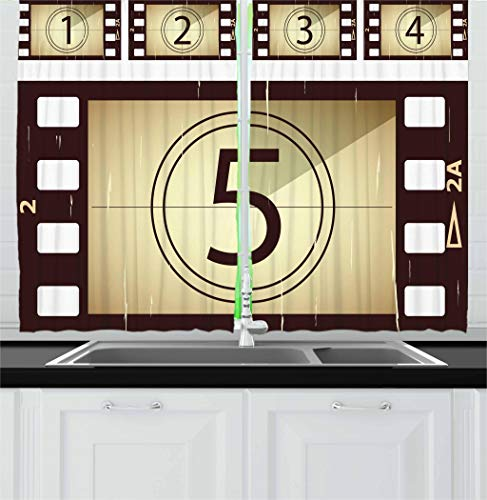 Ambesonne Movie Theater Kitchen Curtains, Scratched Film Strips Vintage Movie Frame Pattern Grunge Illustration, Window Drapes 2 Panel Set for Kitchen Cafe, 55 W X 39 L Inches, Beige Brown White