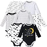 Hudson Baby Unisex Baby Long Sleeve Cotton Bodysuits, Moon and Back Long Sleeve 7 Pack, 0-3 Months (3M)