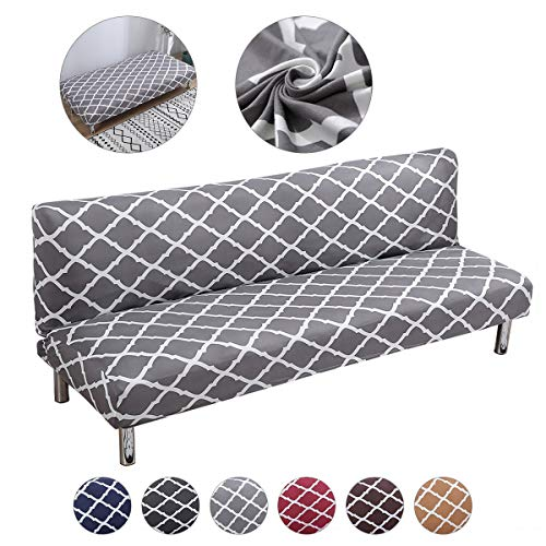 Mingfuxin Armless Sofa Bed Cover Polyester Spandex Stretch Futon Slipcover Protector 3 Seater Elastic Full Folding Couch Sofa Shield fits Folding Sofa Bed without Armrests (BTC02 Gray)