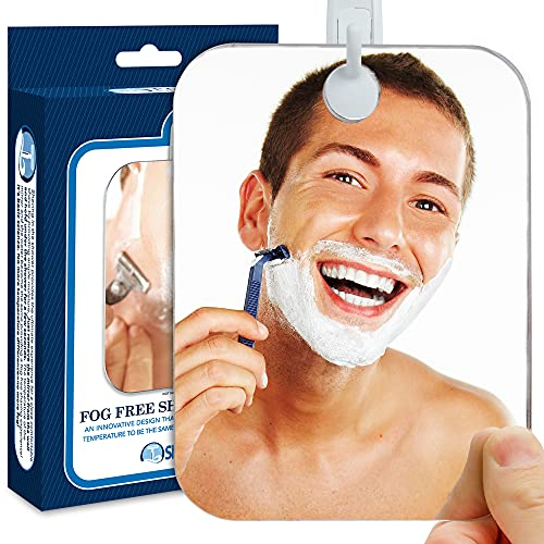 The Shave Well Company Deluxe Anti-Fog Shower Mirror | Fogless Bathroom Shaving Mirror | 33% Larger Than Original | Long-Lasting Removable Adhesive Hook