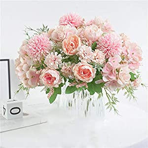 NAWEIDA Artificial Flowers,Silk Hydrangea Bouquet Fake Peony Décor Plastic Carnations Realistic Flower Arrangements Wedding Decoration Table Centerpieces 2 Packs (Pink)