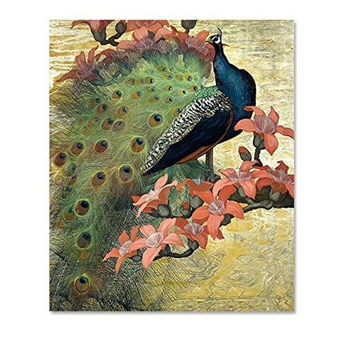 Geiqianjiumai kunstdruk, motief: pauw, bloemen, vogels, veren, pastore, wand, woonkamer, foto, decoratie, modern, bedrukt